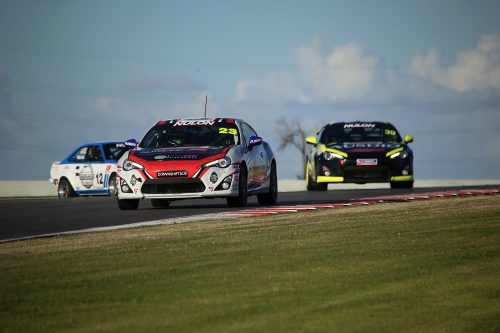George Gutierrez racing his No. 23 IPRA Toyota 86 at Tailem Bend